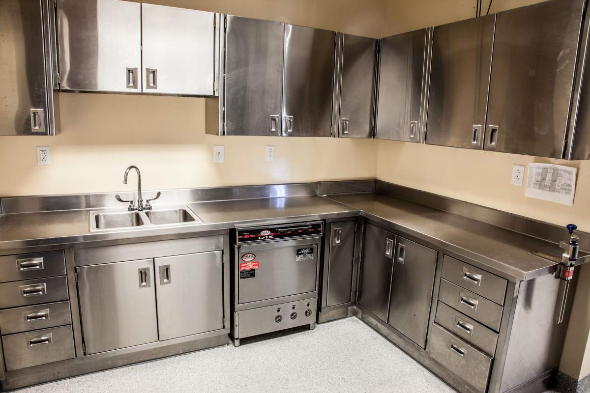 Use durable materials that are easy to clean for your office kitchen.