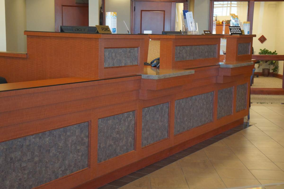 Custom bank reception desk